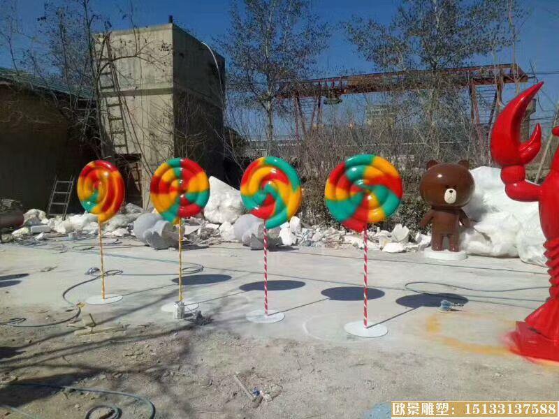 玻璃钢棒棒糖雕塑 (2)