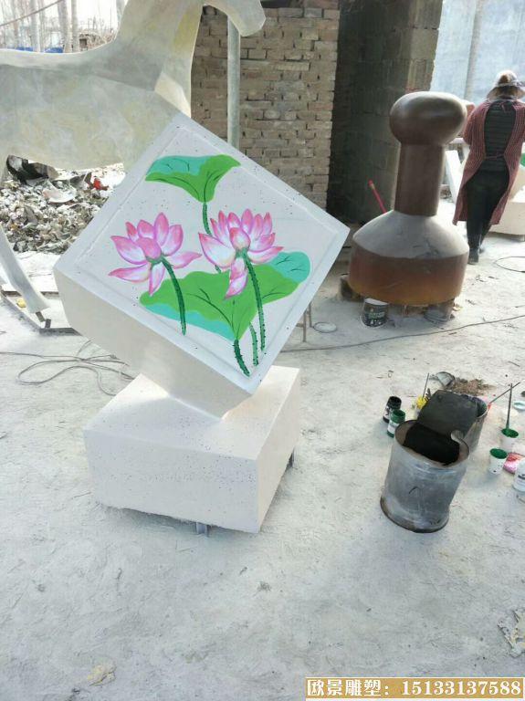 玻璃钢材质公园小品雕塑 池塘荷花雕塑品 (4)