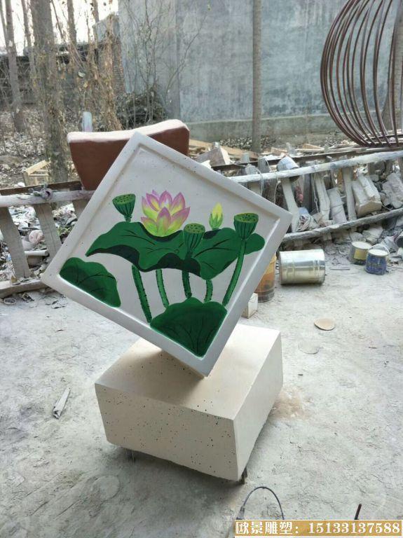 玻璃钢材质公园小品雕塑 池塘荷花雕塑品 (5)